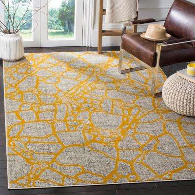 Porcello Light Gray/Yellow 8 ft. x 11 ft. Area Rug