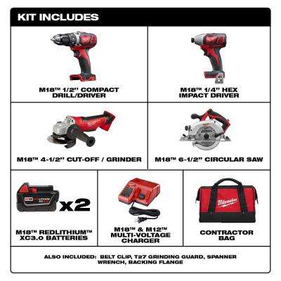 M18 18-Volt Lithium-Ion Cordless Combo Tool Kit (4-Tool) with Two 3.0 Ah Batteries, 1-Charger, 1-Tool Bag
