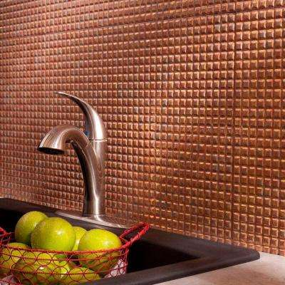 24 in. x 18 in. Squares PVC Decorative Backsplash Panel in Cracked Copper