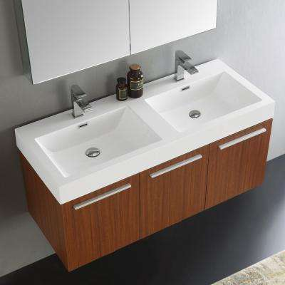 Vista 48 in. Vanity in Teak with Acrylic Vanity Top in White with White Basins and Mirrored Medicine Cabinet