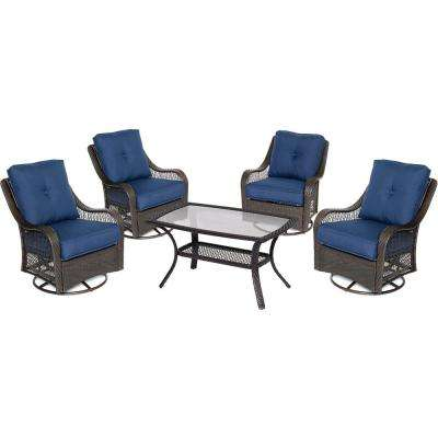 Orleans 5-Piece Wicker Patio Conversation Set with Navy Blue Cushions