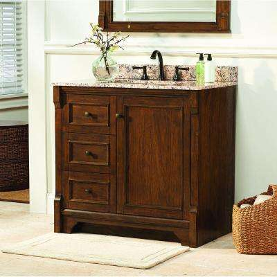 Creedmoor 36 in. W Bath Vanity Cabinet Only in Walnut with Left Hand Drawers