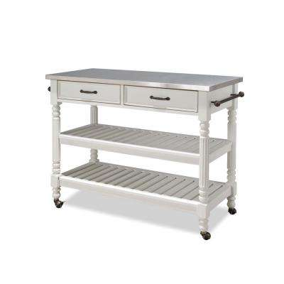 Savannah Kitchen Cart in White with Stainless Top
