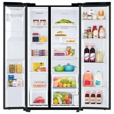 22.0 cu. ft. Side by Side Refrigerator in Fingerprint Resistant Black Stainless Steel, Counter Depth