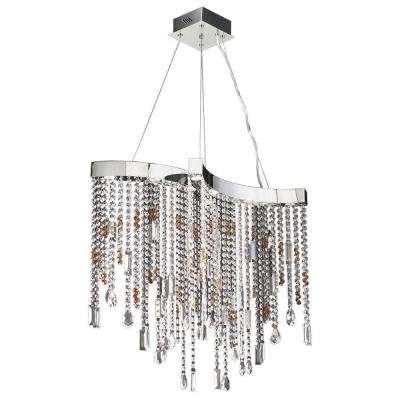 8-Light Chandelier Polished Chrome Finish Clear Glass