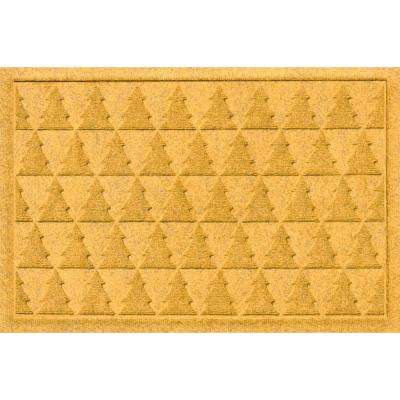Aqua Shield Pine Trees Yellow 17.5 in. x 26.5 in. Door Mat