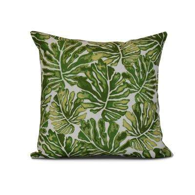 16 in. Green Palm Leaves Floral Print Pillow
