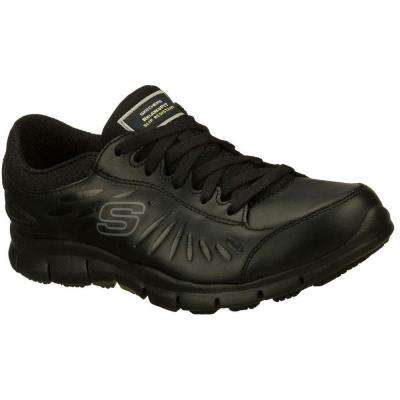 Eldred Women Black Leather Work Shoe