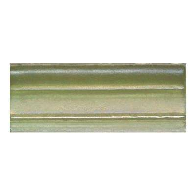 Cristallo Glass Peridot 3 in. x 8 in. Chair Rail Glass Accent Wall Tile