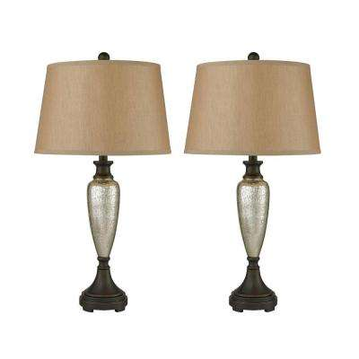 Caldeon 31 in. Antique Mercury Table Lamps with Bronze Accents
