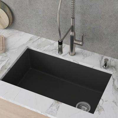 Forteza Undermount Granite 32 in. Single Bowl Kitchen Sink in Black