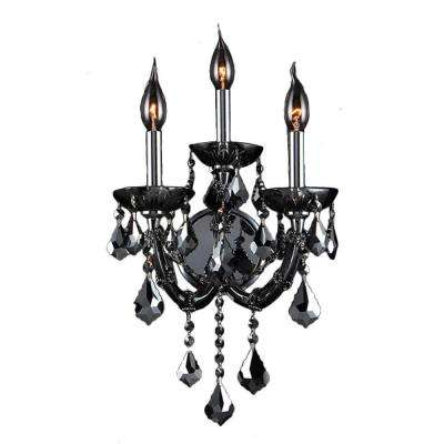 Lyre 3-Light Chrome Sconce with Smoke Crystal