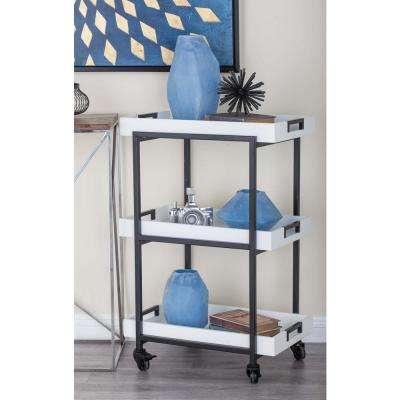 White and Black Wine Rolling Cart with Storage