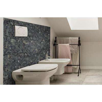 Sliced Pebble Tile  Black 11-1/2 in. x 11-1/2 in. x 9.5mm Honed Pebble Mosaic Tile (10.12 sq. ft. / case)