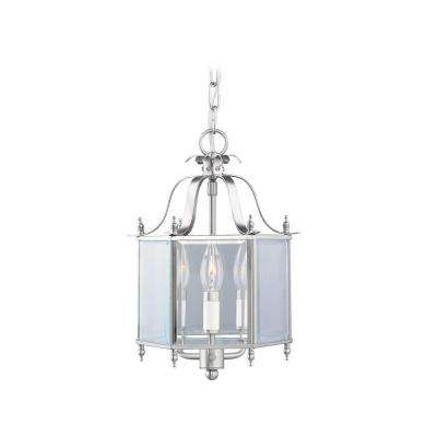 3-Light Brushed Nickel Pendant with Clear Beveled Glass Shade