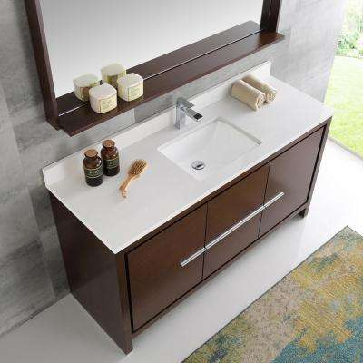 Allier 60 in. W Vanity in Wenge Brown with Ceramic Vanity Top in White with White Basin and Mirror