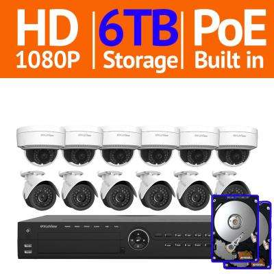 16-Channel 1080p HD 6TB NVR Surveillance System (6) 1080p Bullet and (6) Dome Indoor/Outdoor Security Cameras Free App