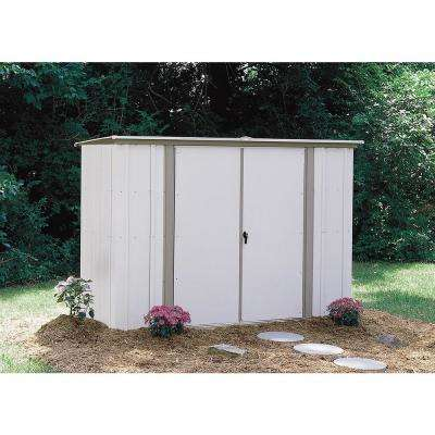8 ft. W x 3 ft. D White Galvanized Metal Garden Shed