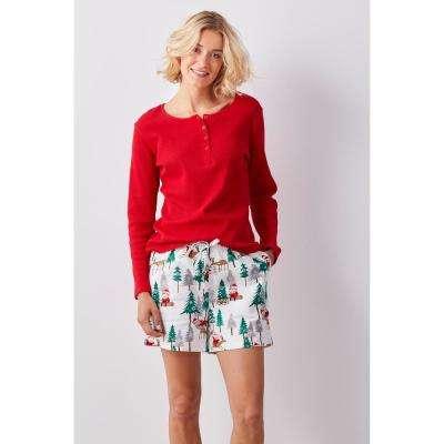 Family Flannel Women's Santa 2-Piece Thermal Pajama Set
