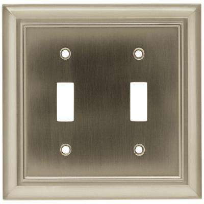 Architectural 2 Toggle Switch Wall Plate - Satin Nickel