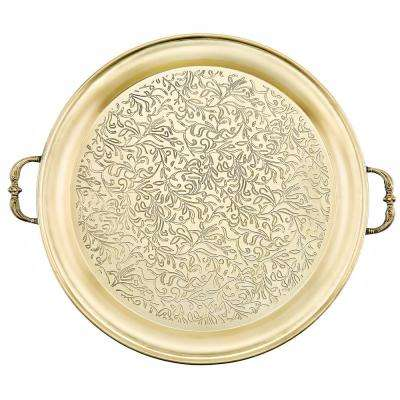 "18 in. Dia ""Cairo"" Champagne Tone Etched Steel Tray"