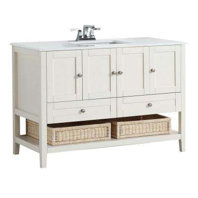 Cape Cod 48 in. W x 21.5 in. D Vanity in Soft White with Quartz Marble Vanity Top in White with White Basin