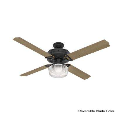Brunswick 60 in. LED Indoor Natural Iron Wi-Fi Enabled Ceiling Fan with Globe Light Kit and Integrated Handheld Remote