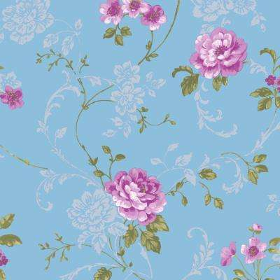 Blue and Pink Northern Rose Wallpaper
