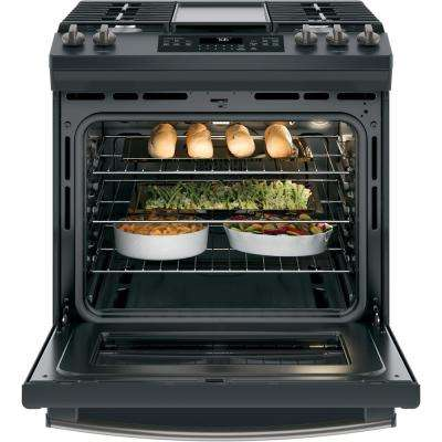 5.6 cu. ft. Slide-In Gas Range with Self-Cleaning Convection Oven in Black Slate, Fingerprint Resistant