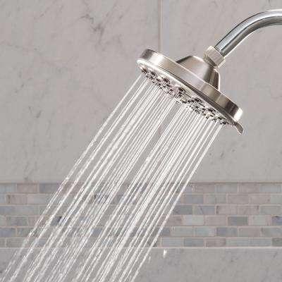 6-Spray 6 in. Single Wall Mount Low Flow Fixed Rain Shower Head in Brushed Nickel