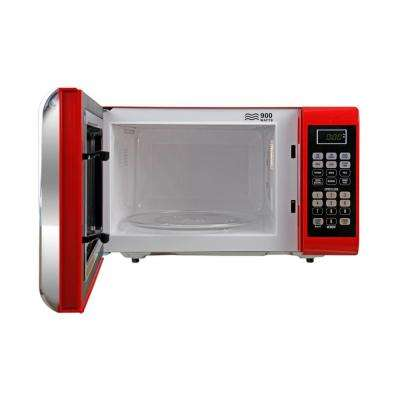 0.9 cu. ft. 900-Watt Countertop Microwave Oven in Red with Chrome