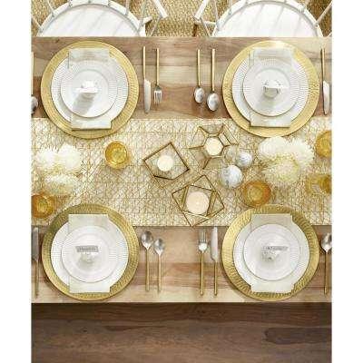 16-Piece Seasonal Gold Porcelain Dinnerware Set (Service for 4)