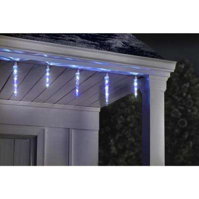 11 in. x 9 in. x 7 in. 8-Light LED Icy Blue/White Christmas Shooting Star Icicle Light String