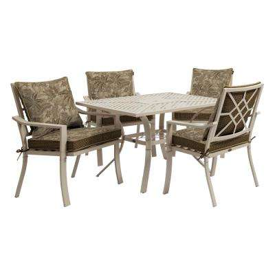 Valencia 5-Piece Outdoor Dining Set with Palmetto Mocha Cushions