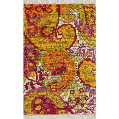 Aria Lifestyle Collection Green/Multi 1 ft. 9 in. x 5 ft. Area Rug