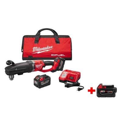 M18 FUEL 18-Volt Lithium-Ion Super Hawg Right Angle Drill Kit with Quik-Lok 9.0Ah Kit with Free M18 5.0Ah Battery