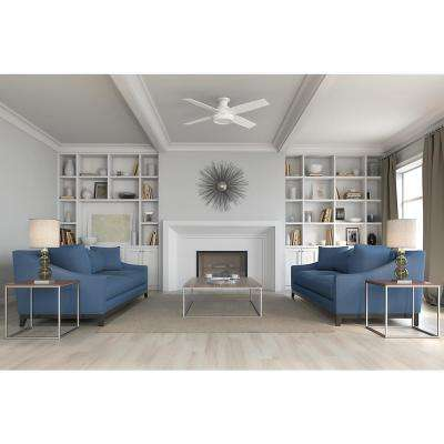 Dempsey 52 in. Low Profile No Light Indoor Fresh White Ceiling Fan