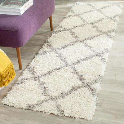 Dallas Shag Ivory/Gray 2 ft. x 10 ft. Runner Rug