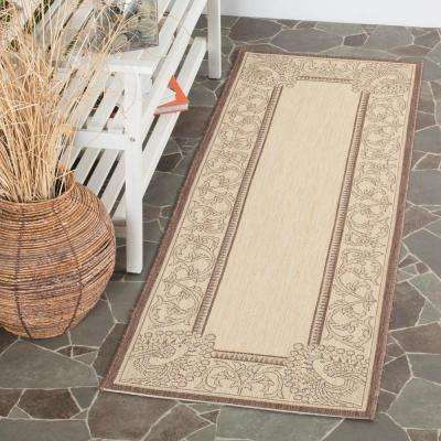 Courtyard Natural/Chocolate 2 ft. x 7 ft. Indoor/Outdoor Runner Rug