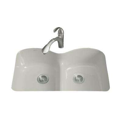 Langlade Smart Divide Undermount Cast-Iron 33 in. 6-Hole Double Bowl Kitchen Sink in Ice Grey