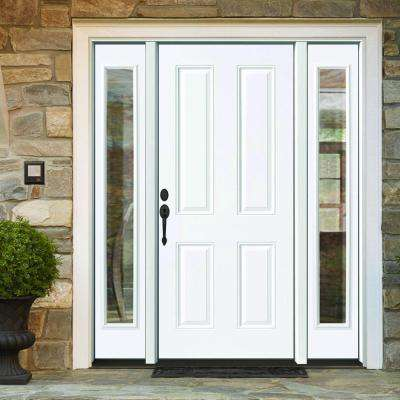 72 in. x 80 in. 4-Panel Primed White Right-Hand Steel Prehung Front Door with 16 in. Clear Glass Sidelites 6 in. Wall