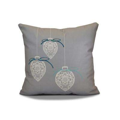 16 in. Filagree Ornaments Holiday Gray Pillow