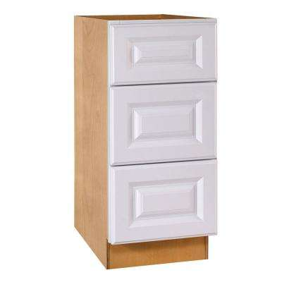 15x28.5x21 in. Hallmark Assembled Desk Height Base Cabinet with 3 Drawers in Arctic White