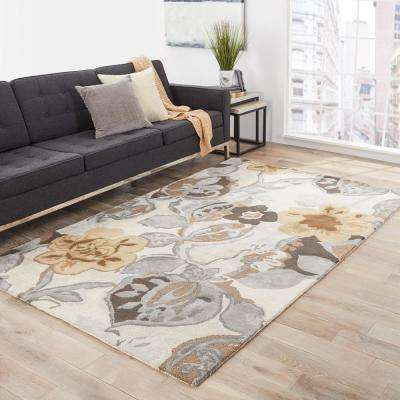Taos Taupe 3 ft. x 8 ft. Floral Runner Rug