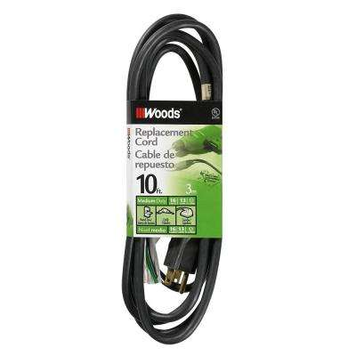 10 ft. 16/3 SJEW Replacement Power Supply Cord, Black