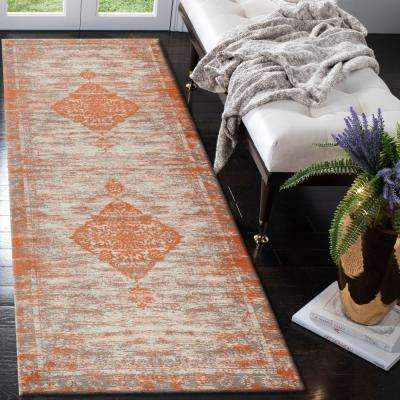 Jewel Turkish Distressed Medallion Border Rust 3 ft. x 7 ft. Indoor Runner Rug