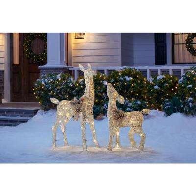 3 ft LED Lighted White Deer and Doe
