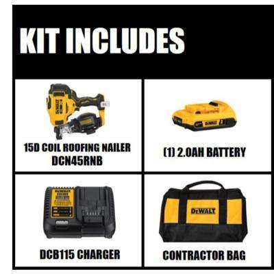 20-Volt MAX Lithium-Ion 15-Degree Cordless Roofing Nailer Kit with Battery 2.0 Ah Charger and Bag
