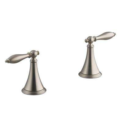 Finial 2-Handle Deck-Mount Roman Tub Faucet in Vibrant Brushed Nickel