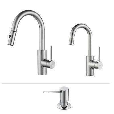 Oletto Single-Handle Pull-Down Kitchen Faucet and Bar Faucet with Soap Dispenser in Chrome